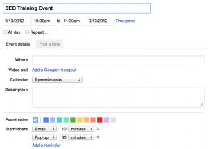 Google Event Calendar