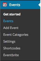 Event brite API WP dashboard